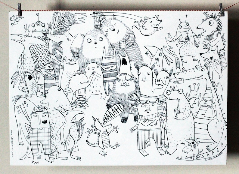 Monster Colouring-in poster children's activity present image 0