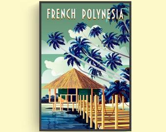 Tahiti Island in French Polynesia Travel Tourism Vintage Poster Repo FREE SH