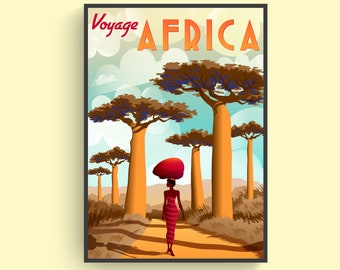 24x36 1960s Fly Sudan Airways African Safari Travel Poster