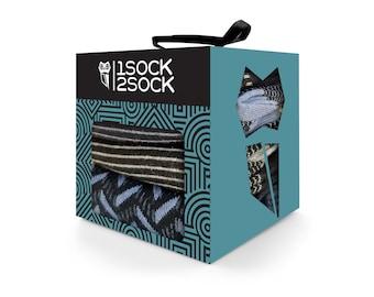 1SOCK2SOCK Mens Dress Socks Casual Socks Cotton Socks Crew Socks Size 10 13 Black Socks Striped Socks Original Gift Box Made in Turkey