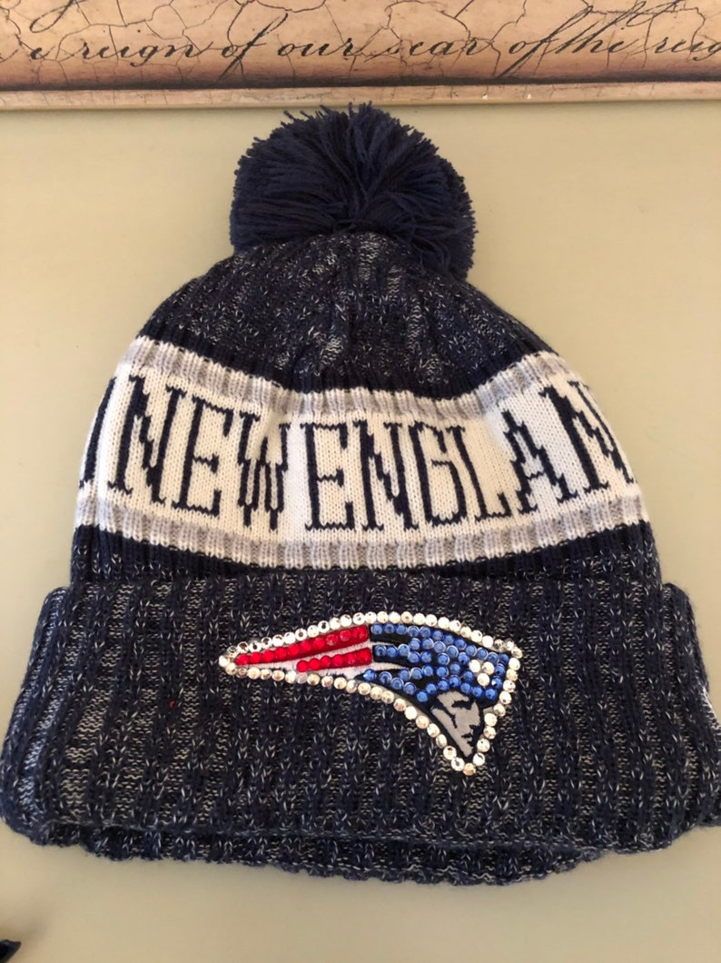 55f17de3 Blue sideline New England Patriots knit hat made with Swarovski Crystals