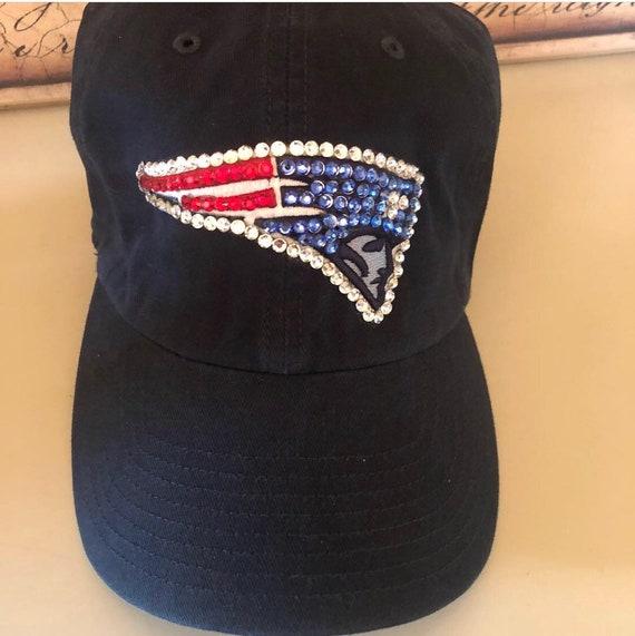 Navy blue Patriots baseball hat madd with Swarovski Crystals  9ff3e2009