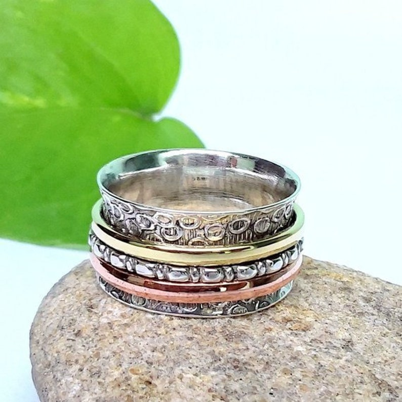 Hot Solid Silver Spinner Ring,Three Tone Spinner Ring,Textured Spinner Ring,Meditation Ring,Worry Ring,Brass and Copper Spinning Ring.