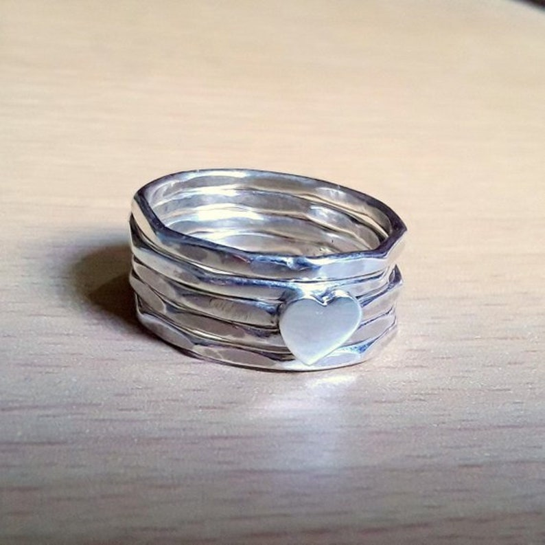 Stacking Rings Mother/'s Day Gift Ring Gift For Her Heart Ring Family Ring Silver Sterling Ring Women Ring Heart Shape Five Band Rings
