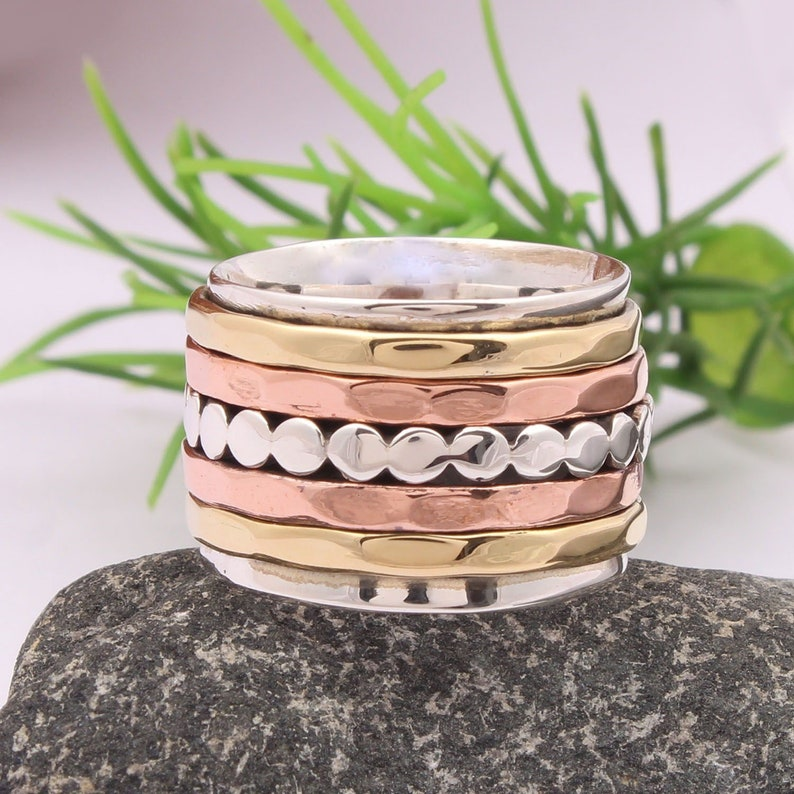 Hot Spinner Ring Fidget Ring 925 Sterling Silver Ring for Mens and Women Thumb Ring Wide Band Meditation Ring Spinning Five Band Ring