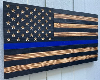dads army Docking station men wooden phone stand police badge police department police officer gifts for men thin blue line wood flag