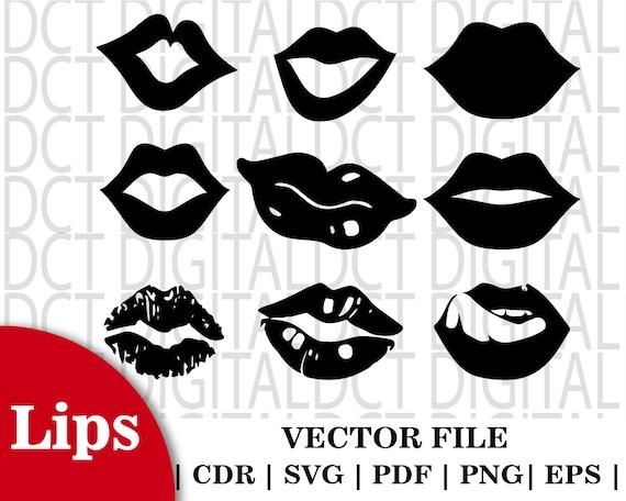 Lips Svg Lips Clipart Bundle Kiss Svg Lips Vector Kiss Etsy