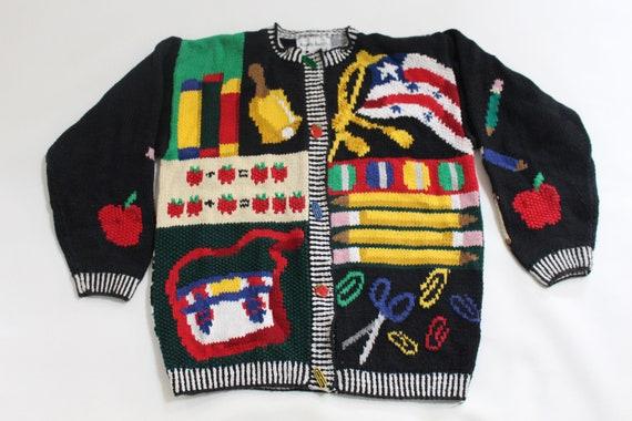 Vintage 1958 School Days sweater 1990s kids Medium Youth size
