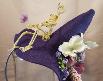 Purple Skeleton Spring Garden Witch Hat