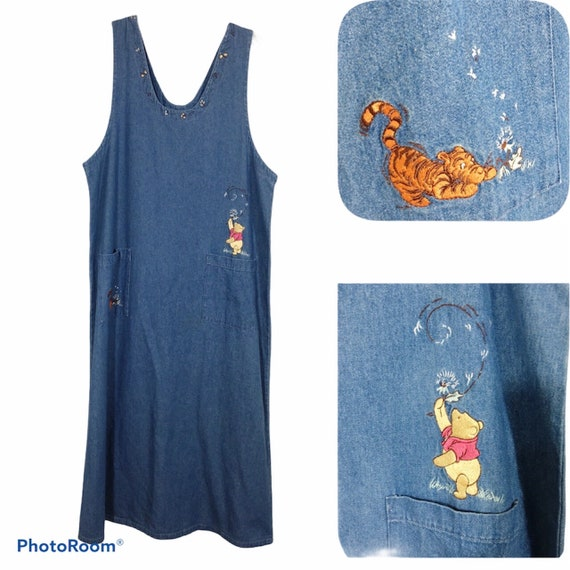 NWT Disney Store Embroidered Winnie Pooh Denim Jum