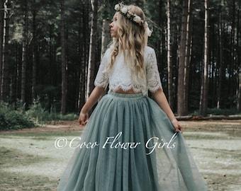 Beautiful Bridal Flower Girl Dress Set Lace Crop Top and Long Layered Princess Tulle Skirt Set - Sage Green