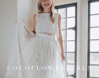 Beautiful White Sleeveless Lace Crop Top and Long Lace Tulle Skirt - Boho Style Flower Girl Bridal Set Dress