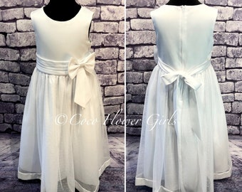 Long Classic Traditional Bridal 'English Dotty' Flower Girl Dress - Ivory or Ice White - Baby Baptism Dress
