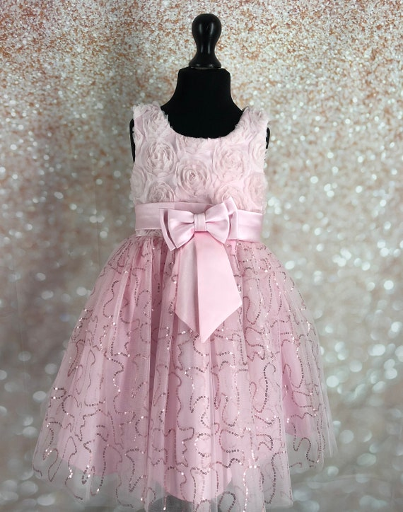 Flower Girl Dress Bow Corsage with Bridesmaid Party Dress White /& Pink UK Stock