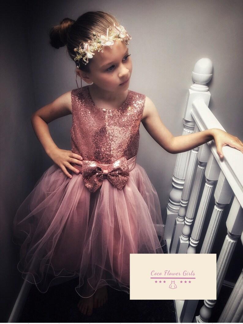 8a565177282d8 Sparkle Rose Gold Shine Sequin Flower Girl Dress