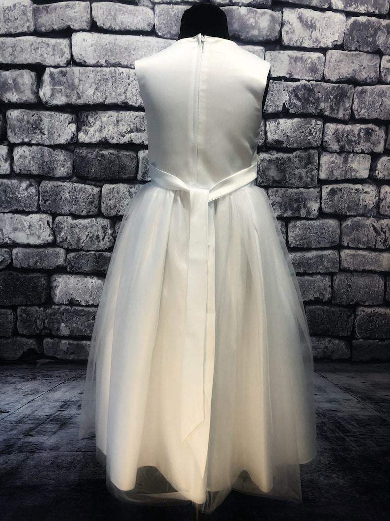 Long Classic Sash Flower Girl Dress Ice White