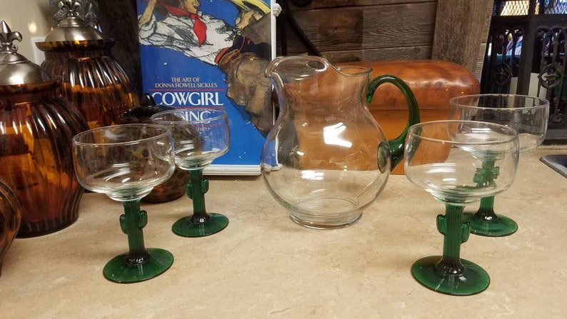728942b8bb3 Vintage Glass Cactus Margarita Pitcher and Drinking Glasses