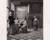 Pieter de HOOCH Etching quot Woman with the Water Glass and Soldiers quot 1800s SIGNED Custom Framing COA