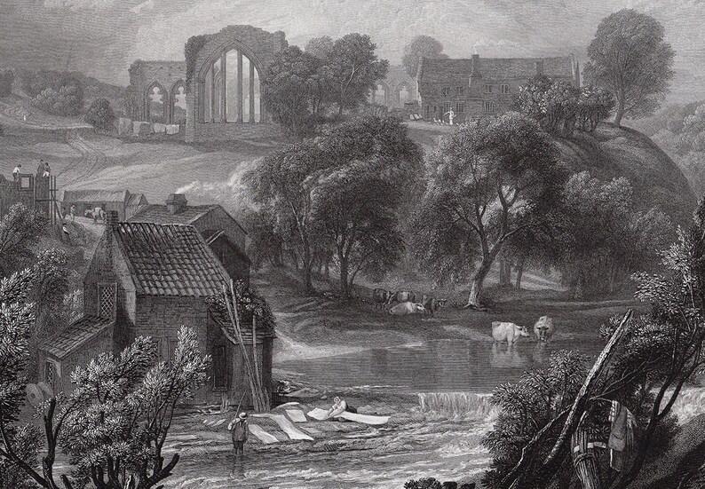 near Barnard Castle Signed FRAMED Gallery Certificate JMW TURNER Signed Engraving Egglestone Abbey