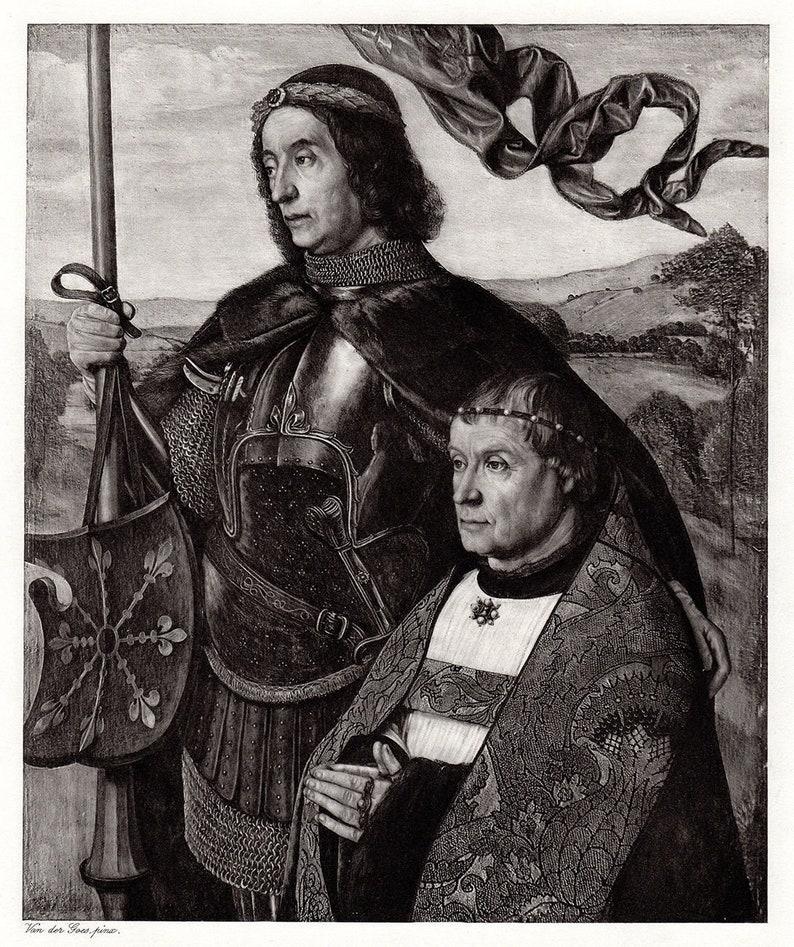 Hugo van der Goes 1800s Antique Print St Victor /& Donor SIGNED Framed COA