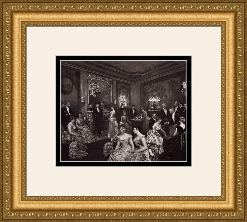 Horace de Callias 1800s Antique Print After Dinner Party with the Baroness Framed COA