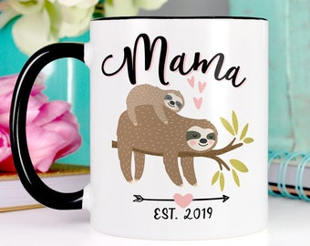 Mama Sloth Mom Mug Cute Birthday Gift For New Mothers Day Black And White Coffee