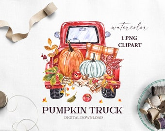 Red Pumpkin Truck Clipart Fall Watercolor Vintage truck Pumpkins PNG Sublimation Autumn Leaves Harvest Thanksgiving Printable  Download