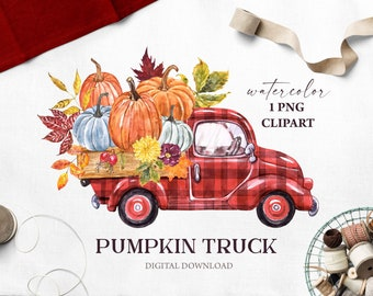 Buffalo plaid Red Pumpkin Truck Clipart Fall Watercolor Vintage truck Pumpkins PNG Sublimation Autumn Leaves Harvest Thanksgiving Printable
