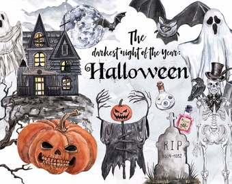 Vintage Halloween clipart Watercolor Black Haunted House Ghost Jack O Lantern Pumpkins Creepy Skull Skeleton Goth Raven Digital Download