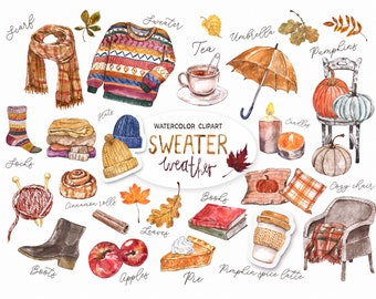 FALL Cozy Clipart Watercolor Autumn PNG Sweater Scarf Pumpkin Spice Latte Umbrella Digital Clip art Painting leaves Boots Printable