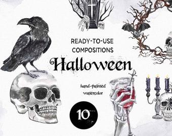 Skull Halloween clipart Watercolor Jack O Lantern Pumpkins Creepy Death Skeleton Goth Raven PNG files Illustration Art Digital Download