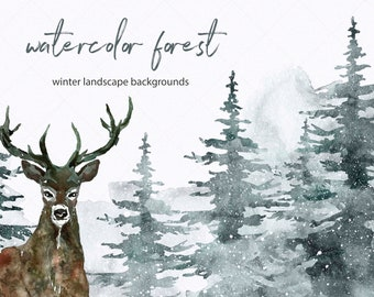 Winter Tree Forest Deer Clipart Watercolor Spruce Forest Clipart Pine tree Landscape Christmas PNG Conifer Snowy Evergreen Fir trees Digital