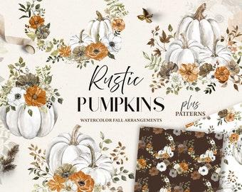 Rustic White Pumpkins clipart Watercolor Pastel Pumpkin Fall Floral Arrangements Autumn PNG Leaves Flowers Rust Thanksgiving Printable