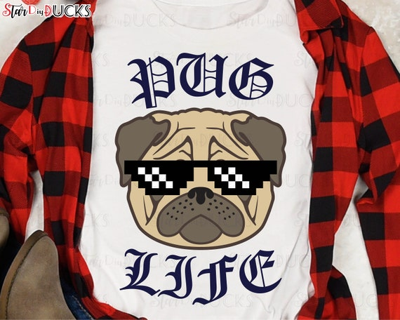 PUG LIFE cutting files svg clip art digital download graphic design printable vinyl decal transfer paper cute head with glasses No400