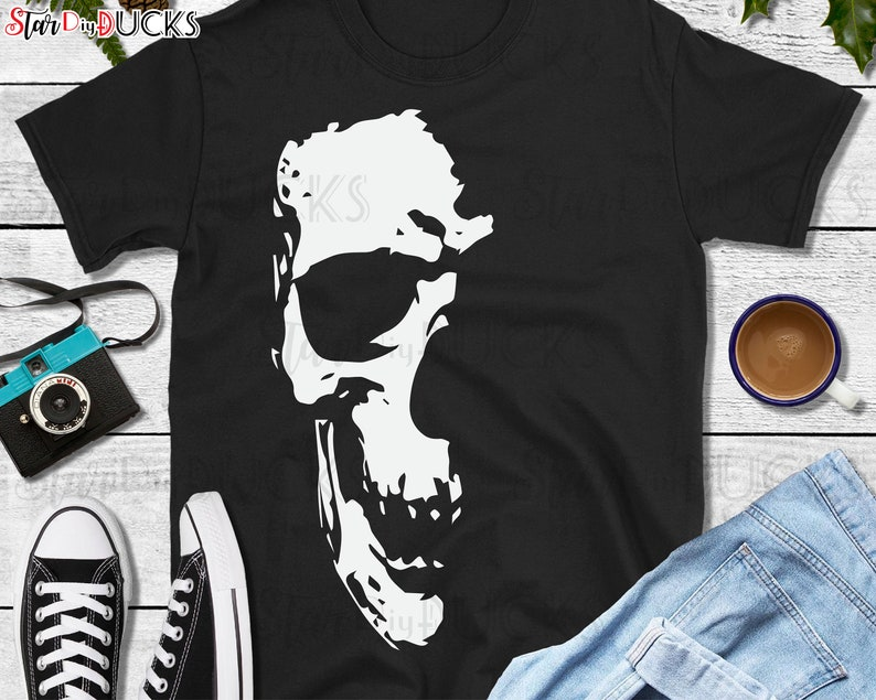 Skull t-shirt design cutting files svg clip art digital image 0
