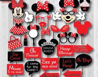 photo regarding Free Printable Mickey Mouse Photo Booth Props titled Mickey mouse props Etsy