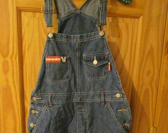 Vintage Women/'s shortalls denim jean short bibs Mickey Unlimited Disney Small 90/'s oversized