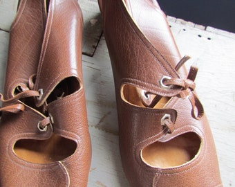03877ff84529 Women s Vintage Italy made shoes Roveta Condoliers Brown sandals Size 8 N  Leather
