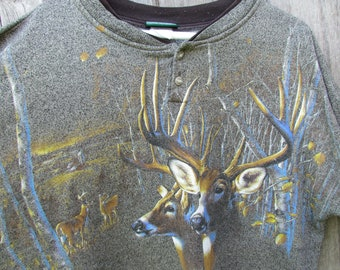 7328c5dae0b60 90's VTG Deer Wildlife Nature Double-Sided Sweatshirt-Large-Forest Glen  Apparel