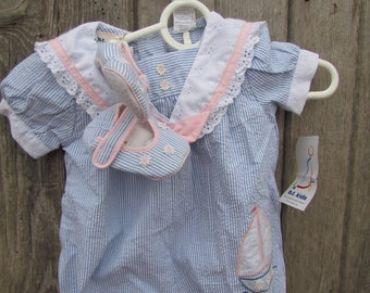 1fc331a7c3f81 Girl's infant baby blue striped sailor style romper one piece Seersucker  Sailbot 6-9 mths BT Kids Brand New with tags shoes