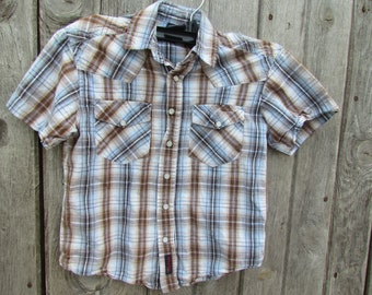 69d8f743a Wrangler Western Vintage shirt size 4/5 XS Child boy's Rodeo plaid snap  pear buttons