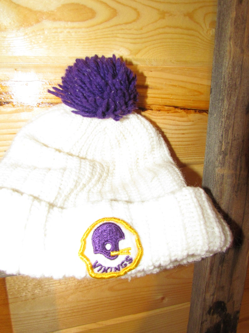 4ad80067 Vintage Stocking Cap Beanie Minnesota Vikings purple gold Pom Pom 1970's or  early 80's