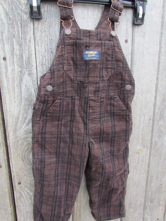 Baby overalls plaid dark brown corduroy vintage Genunie Kids Oshkosh Co 18 mth Vestbak 90/'s