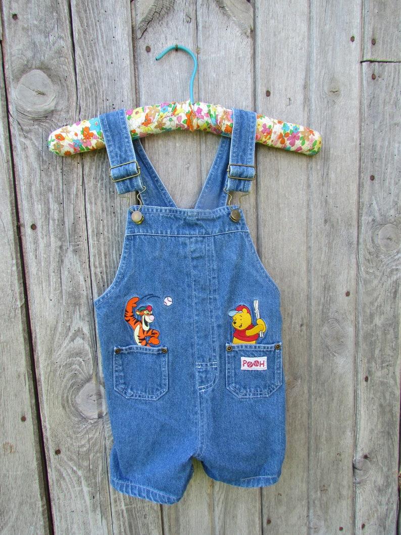 eed60cd2fd9 Disney Winnie The Pooh Tigger jean denim overalls short shortalls 4T Months  VTG