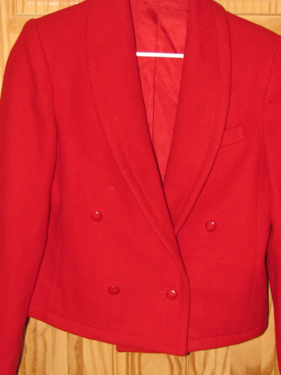 Talbots Petites Red Worsted Wool 4 Full Button Up Blazer Jacket Womens size 6P Vintage Made in the USA Cropped