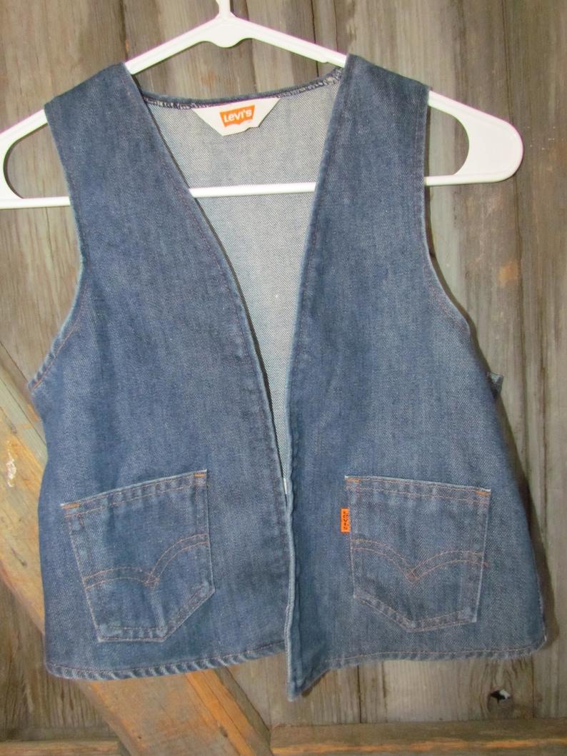 Vintage Levi's orange tap jean denim vest Child size 1214 1970's