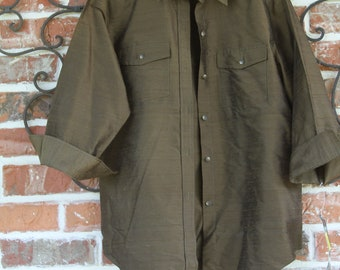 65165a7662c6a NWT vintage Ralph Lauren olive button down silk shirt