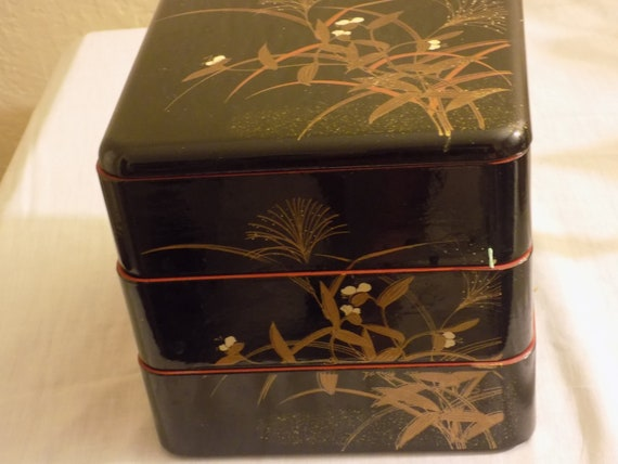 Vintage Asian Lunch Box Black Lacquered Plastic 10 x 7