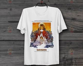 c3e40e47982506 Labyrinth David Bowie 86 Film Retro Cool Hipster Unisex Vintage T Shirt B16
