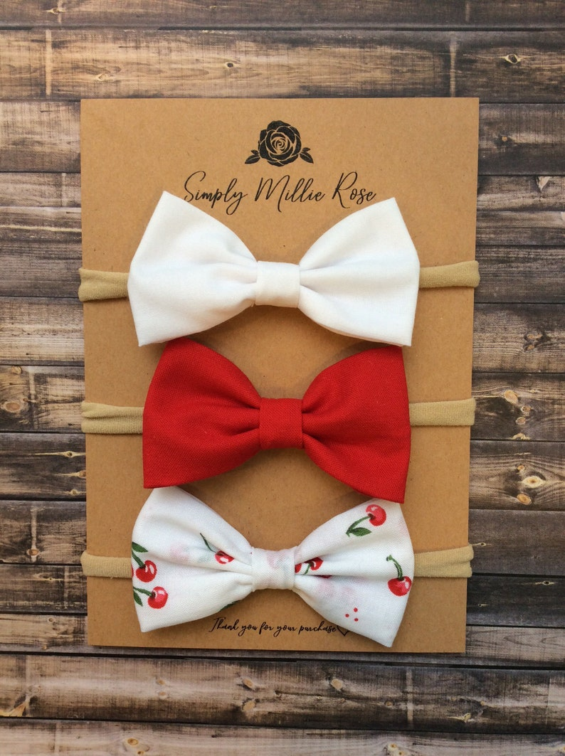 spring set of three baby baby headbands fabric bows hair girl red bow Cherry bundle pack clip,hair